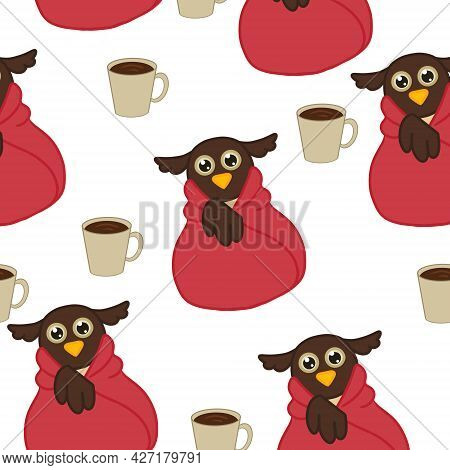 Repetitive Owl Wrapped In Red Plaid And Cup Of Coffee On White Background. Vector Illustration Can B