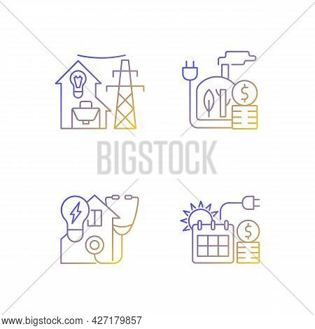 Electrical Energy Purchase Linear Icons Set. Utility Service For Residential House. Electricity Cons