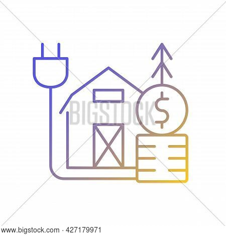 Rural Energy Price Gradient Linear Vector Icon. Electrical Power Consumption In Villages And Country
