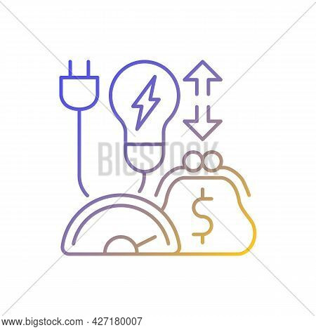 Energy Efficiency Program Gradient Linear Vector Icon. Policy For Purchasing Electrical Power. Energ