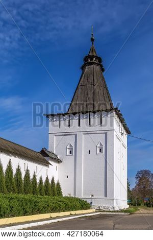 Wall And Tower In St.paphnutius Borovsk Monastery, Russia