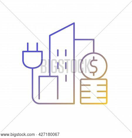 Urban Energy Price Gradient Linear Vector Icon. Electricity Consumption In City District. Power Serv