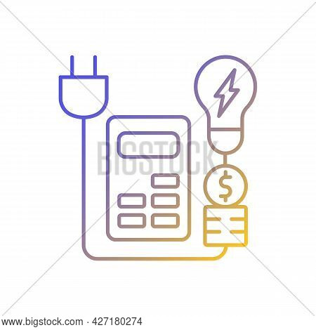 Energy Price Rebates Gradient Linear Vector Icon. Discount For Electrical Power Consumption. Energy