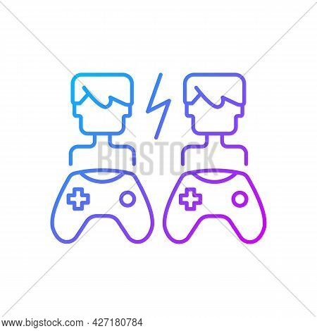 Player Versus Player Games Gradient Linear Vector Icon. Users Compete Against Each Other. Digital En
