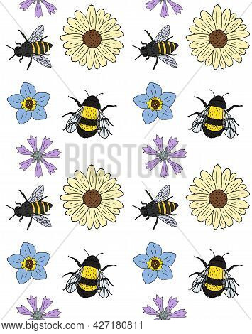 Vector Seamless Pattern Of Colored Hand Drawn Doodle Sketch Flowers And Bee Bumblebee Insects Isolat