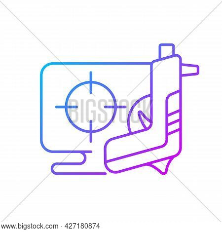 Shooter Game Gradient Linear Vector Icon. Action Based Genre Focused On Defeating Enemies. Shooting