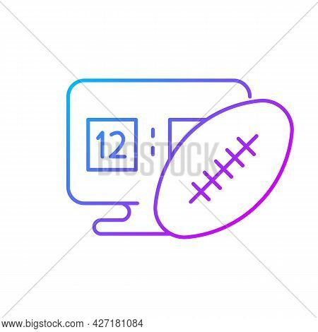 Online Football Games Gradient Linear Vector Icon. Modern Sport Matches Simulator Types. Thin Line C