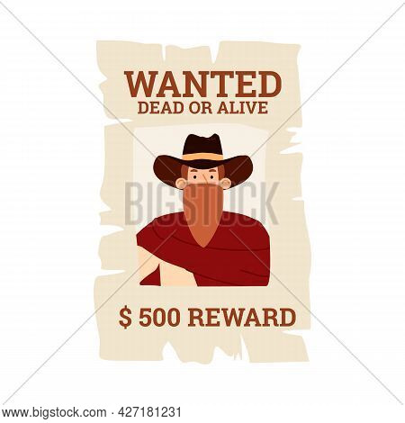Vector Poster With Wild West Bandit Cowboy In Hat And Mask Wanted For Reward.
