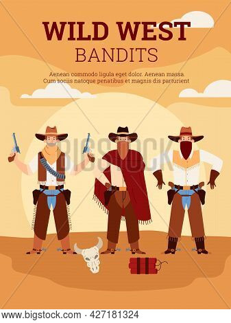Armed American Wild West Bandits In Traditional In Cowboy Clothes, Hats And Masks