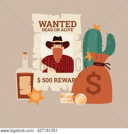 Poster With Wild West Bandit Cowboy In Hat And Scarf Mask Wanted Dead Or Alive