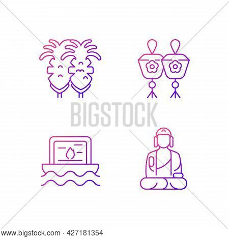 Taiwanese Culture Gradient Linear Vector Icons Set. Fried Squid. Shan Buddha Museum. Religious Cerem