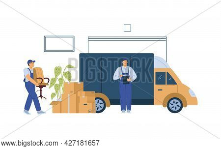 Moving Company Loaders Or Movers Loading Van, Flat Vector Illustration Isolated.