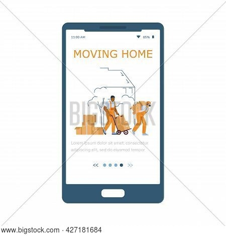 Moving Home Company Application Onboarding Page, Flat Vector Illustration.