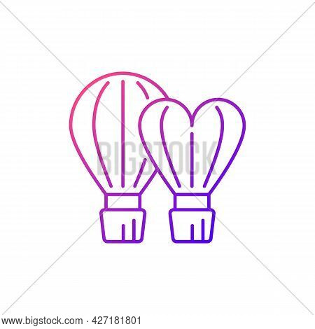 Taiwan International Balloon Festival Gradient Linear Vector Icon. Hot Air Balloons. Taiwanese Festi