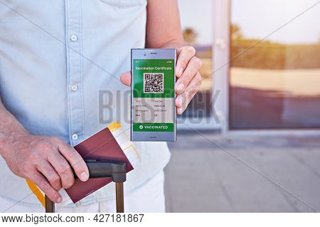 Hand Man Holding Smartphone Display On App Mobile Displaying Valid Digital Vaccination Certificate F