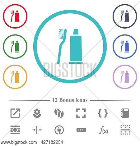 Toothbrush And Toothpaste Tube Flat Color Icons In Circle Shape Outlines. 12 Bonus Icons Included.