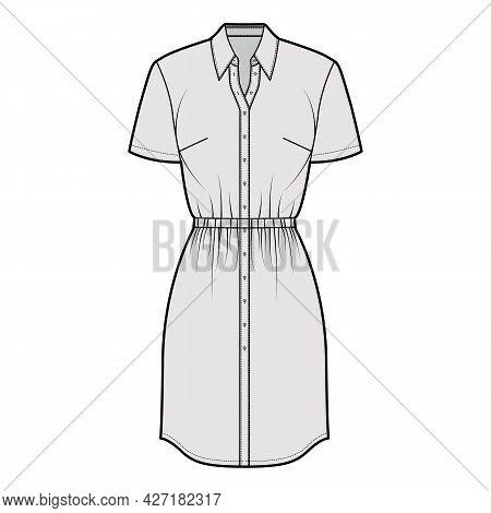 Dress Shirt Technical Fashion Illustration With Gathered Waist, Short Sleeves, , Knee Length Pencil