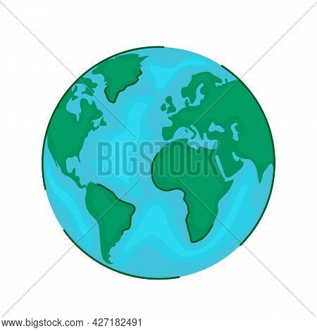 Stylized Planet Earth View From Space. Globe And World Map In Modern Linear Style. Vector Illustrati