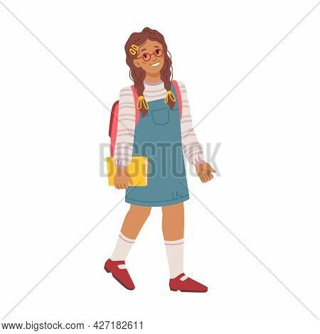 Female Personage With Satchel On Shoulders And Book In Hand Walking To School Lessons And Classes. C