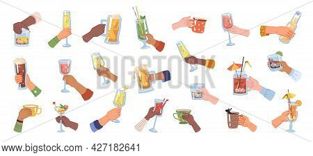 Glasses And Cups With Alcohol And Hot Beverages. Isolated Hands Cheers, Celebration And Festivity. C