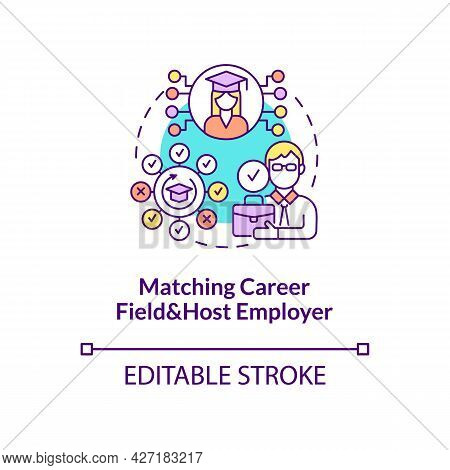 Matching Career Field And Host Employer Concept Icon. International Internship Procedure Abstract Id