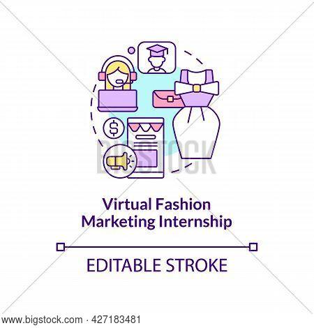 Virtual Fashion Marketing Internship Concept Icon. Top Remote Internship Area Abstract Idea Thin Lin