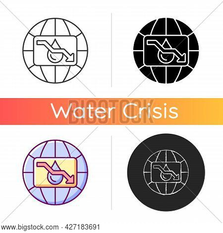 Water Scarcity Icon. Experiencing Drought Conditions Globally. Fresh Water Lacking. Environmental, E