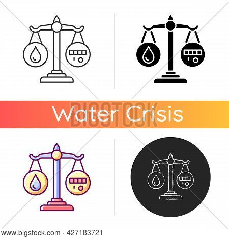 Rational Water Consumption Icon. Promoting Water Conservation. Reuse And Recycling. Responsible Natu