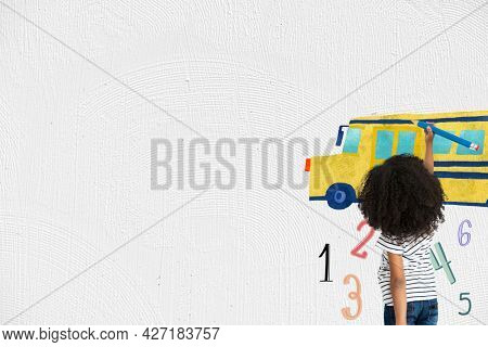 Grade school education background with student drawing a school bus