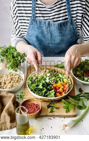 Preparing plant-based recipe idea for  healthy meal