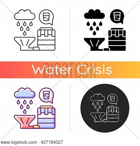 Recycling Rainwater Icon. Collecting Rainfall From Roof And Storing In Tanks. Natural Resource Conse