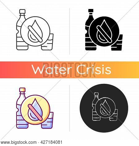 Drinking Water Shortage Icon. Contaminated Natural Source. Unimproved Sanitation, Hygiene. Living In