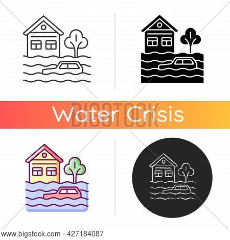 Floods Icon. Water-related Disaster. Negative Impacts On Environment. Life And Property Losses. Chan