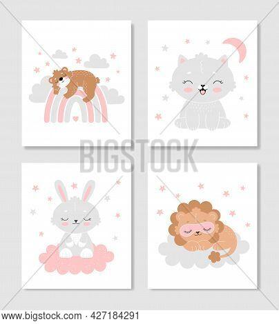Set Of Cute Posters For The Nursery. A Bear On A Rainbow, A Bunny On A Cloud, A Cat, A Sleeping Lion