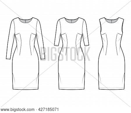 Set Of Dresses Sheath Technical Fashion Illustration With Long Elbow Short Sleeves Sleeveless, Fitte