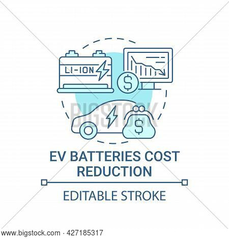 Eco Transport Batteries Cost Reduction Concept Icon. Ev Charging Benefits. Low Emissions. Electric V