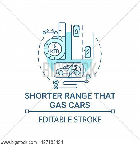 Ev Shorter Range Than Gas Car Concept Icon. Green Tailpipe Emissions Making Abstract Idea Thin Line