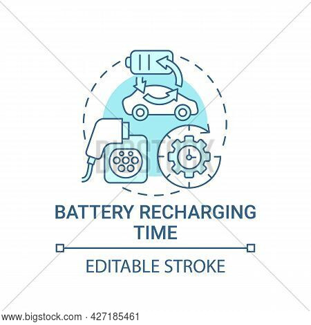 Ev Battery Recharging Time Concept Icon. Electric Vehicle Charge Potential Abstract Idea Thin Line I