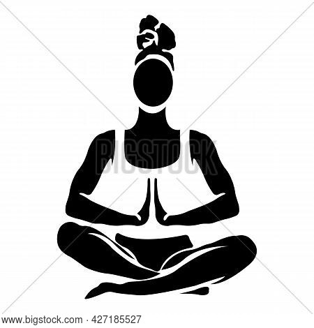Silhouette Of A Girl In The Lotus Position. Yoga And Meditation Concept. Design Suitable For Decor,