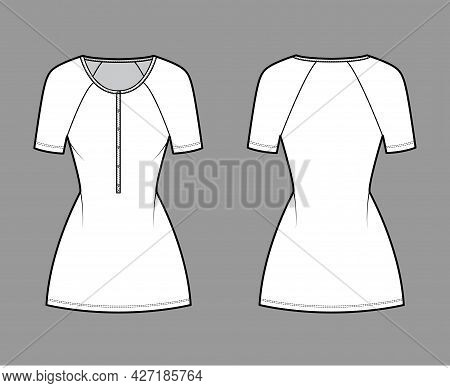 Dress Henley Collar Technical Fashion Illustration With Short Raglan Sleeves, Fitted Body, Mini Leng