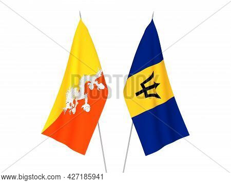National Fabric Flags Of Barbados And Kingdom Of Bhutan Isolated On White Background. 3d Rendering I