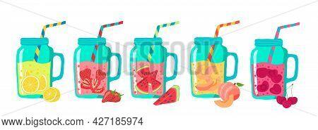 Cartoon Color Various Tasty Sodas Icons Set. Vector