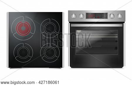 Realistic Detailed 3d Induction Cooking Panel With Oven Set. Vector