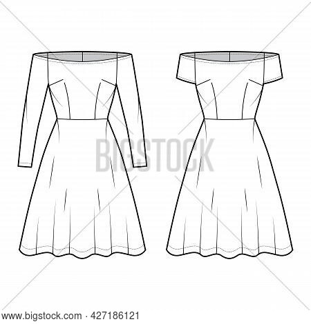 Set Of Dresses Off-shoulder Bardot Technical Fashion Illustration With Long Short Sleeves, Fitted Bo