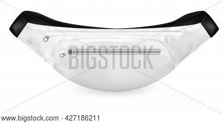 Realistic Detailed 3d White Waist Bag Belt. Vector