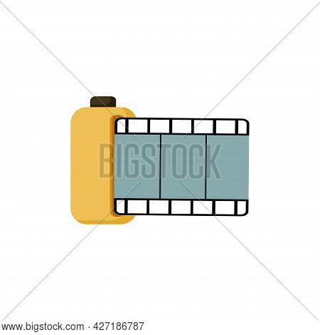 Camera Film Clipart. Camera Film Isolated Simple Flat Vector Clipart