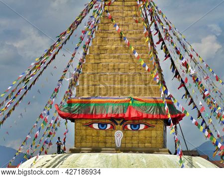 Man Cleaning Holy Stupa, Boudhanath, Kathmandu, Nepal