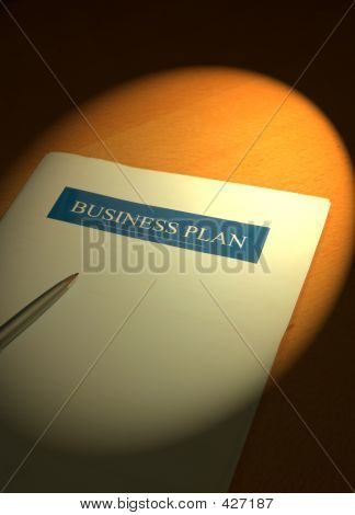 image of a busines plan for a small business under the spot light poster
