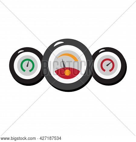 Car Dashboard Clipart. Car Dashboard Speedometer And Tachometer Isolated Simple Flat Vector Clipart