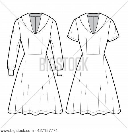 Set Of Dresses Sailor Technical Fashion Illustration With Short Long Sleeve, Fitted Body, Middy Coll